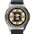 Boston Bruins Ice Hockey Team Unisex Round Silver Metal Watch