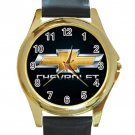 Chevrolet Car Logo Unisex Round Gold Metal Watch-Leather Band