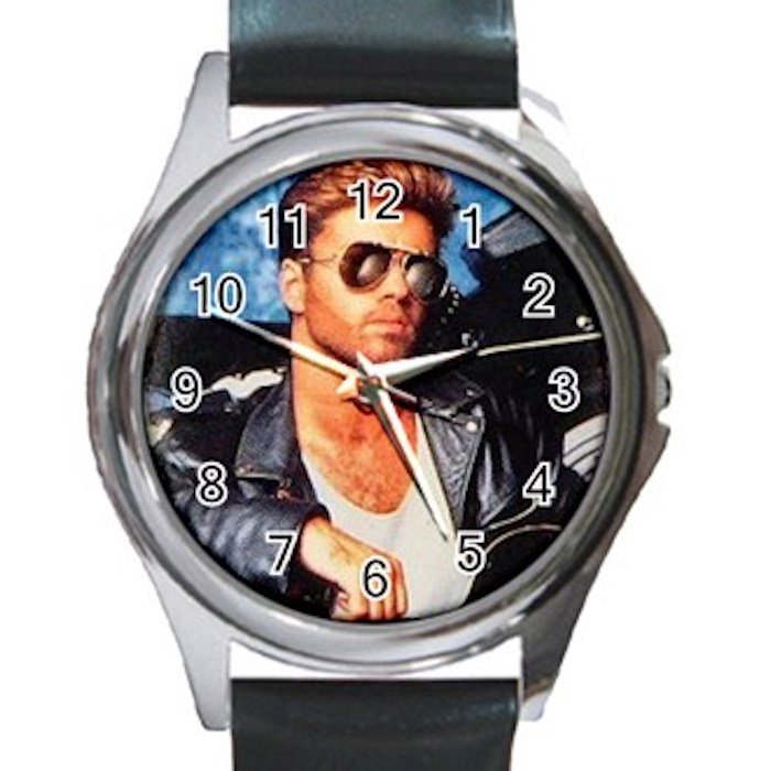 George Michael In Leather Jacket Unisex Round Silver Metal Watch