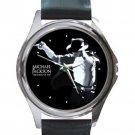 Michael Jackson The King Of Pop Unisex Round Silver Metal Watch