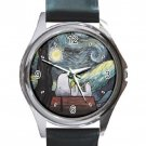 Snoopy Starry Night Vincent Van Gogh Unisex Round Silver Metal Watch
