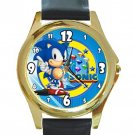 Sonic the Hedgehog Video Game Unisex Round Gold Metal Watch