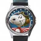 Snoopy Pilot Unisex Round Silver Metal Watch