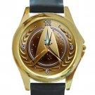 Star Trek Unique Gold Logo Face Unisex Round Gold Metal Watch