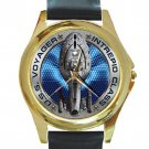 USS Voyager Intrepid Class Unisex Round Gold Metal Watch