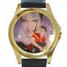 Nice Elvis Presley Portrait Unisex Round Gold Metal Watch
