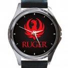 NEW RUGER LOGO Unisex Round Silver Metal Watch