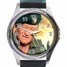 JOHN WAYNE THE GREEN BERETS Unisex Round Silver Metal Watch
