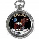 NASA APOLLO 11 FIRST MEN ON THE MOON Round Silver Metal Key Chain Watch