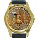 New Bitcoin Picture Style Unisex Round Gold Metal Watch