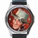 JOHN WAYNE TALL IN THE SADDLE Unisex Round Silver Metal Watch