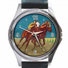 THE SPORT OF KINGS VINTAGE HORSE RACING Unisex Round Silver Metal Watch