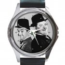 HOT LAUREL AND HARDY Unisex Round Silver Metal Watch