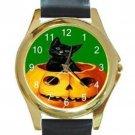 MERRY HALLOWEEN BLACK KITTY CAT & PUMPKIN ON GREEN Unisex Round Gold Metal Watch