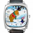 WINNIE THE POOH & PIGLET SNOW Square Metal Watch With Leather Band