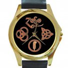 Led Zeppelin Symbols Unisex Round Gold Metal Watch