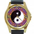 Yin Yang Tribal Unisex Round Gold Metal Watch
