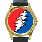 Grateful Dead - Bolt Unisex Round Gold Metal Watch