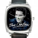 Elvis Presley Blue Christmas Square Metal Watch With Leather Band