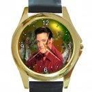 Handsome Elvis Presley Christmas Unisex Round Gold Metal Watch