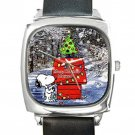 Snoopy Christmas Greeting Square Metal Watch With Leather Band