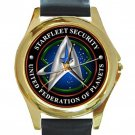 United Federation Of Planets Starfleet Security Unisex Round Gold Metal Watch