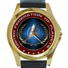 United Federation Of Planets Unisex Round Gold Metal Watch