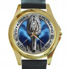 U.S.S. Voyager Intrepid Class Unisex Round Gold Metal Watch