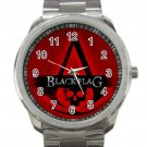 Assassin's Creed Black Flag In Red Background Unisex Sport Metal Watch