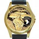 United States Army 101st Airborne Division Unisex Round Gold Metal Watch