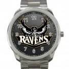Baltimore Ravens NFL Football Team Black & White Logo Unisex Sport Metal Watch
