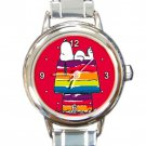 Cute Snoopy Colorful Doghouse Round Italian Charm Watch