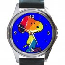 Cute Colorful Unique Snoopy Unisex Round Silver Metal Watch
