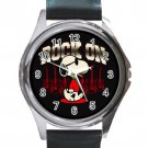 Rock On Snoopy Unisex Round Silver Metal Watch