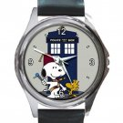 Snoopy With Woodstock Tardis Unisex Round Silver Metal Watch