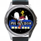 Snoopy Police Box Unisex Round Silver Metal Watch