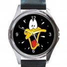 Cute Daffy Duck Unisex Round Silver Metal Watch