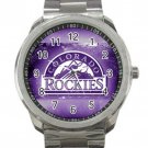 Colorado Rockies MLB Baseball Team Purple Logo Unisex Sport Metal Watch