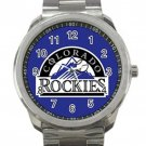 Colorado Rockies MLB Baseball Team Blue Logo Unisex Sport Metal Watch