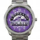 Colorado Rockies MLB Baseball Team Purple Logo 1 Unisex Sport Metal Watch