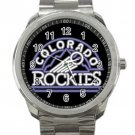 Colorado Rockies MLB Baseball Team Black Logo Unisex Sport Metal Watch