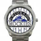 Colorado Rockies MLB Baseball Team Black & White Logo 2 Unisex Sport Metal Watch