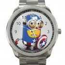 Despicable Me 2 Minion Captain America Unisex Sport Metal Watch