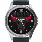 Chicago Bulls Basketball Logo Unisex Round Silver Metal Watch