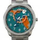 Miami Dolphins NFL Football Team Logo Unisex Sport Metal Watch
