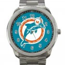 Miami Dolphins NFL Football Team Logo Design 4 Unisex Sport Metal Watch
