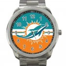 Miami Dolphins NFL Football Team Logo Design 5 Unisex Sport Metal Watch