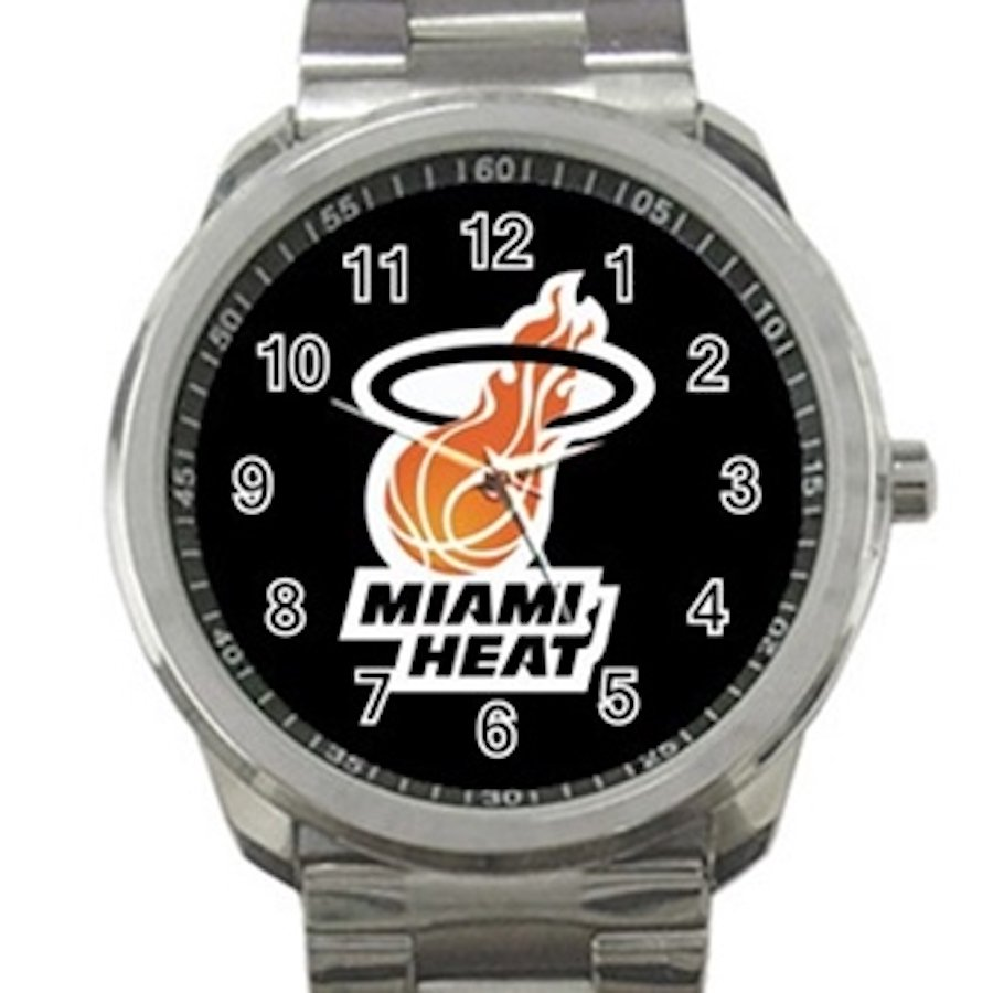 Miami Heat NBA Basketball Team Logo Design 3 Unisex Sport Metal Watch