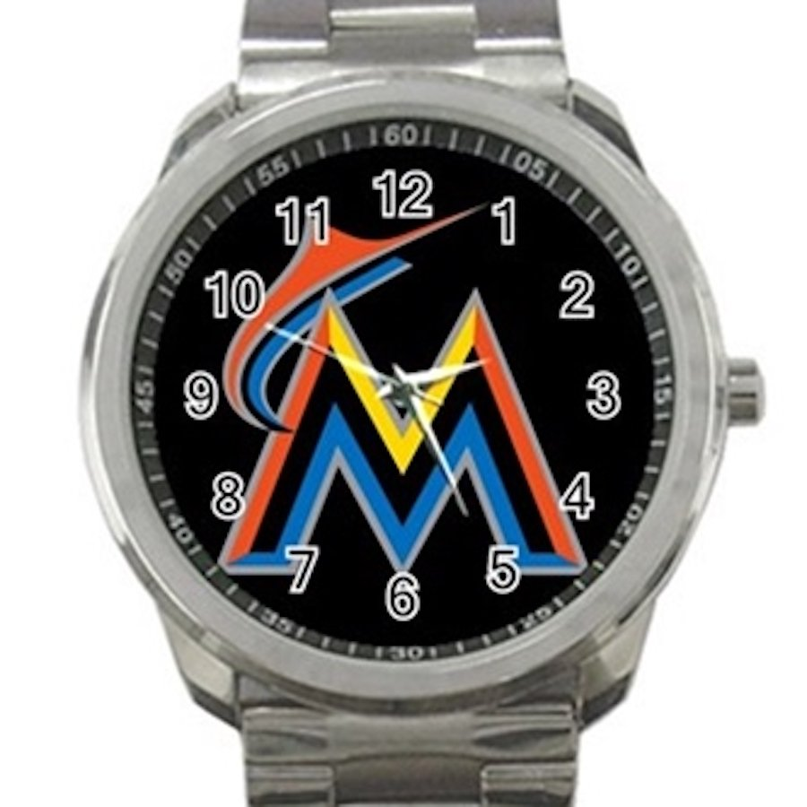 Miami Marlins MLB Baseball Team Unisex Sport Metal Watch