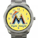 Miami Marlins MLB Baseball Team Logo 2 Unisex Sport Metal Watch